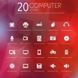 Icone del computer su fondo vago luminoso Fotografia Stock