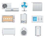 Icone del condizionamento d'aria e del riscaldamento Fotografie Stock Libere da Diritti