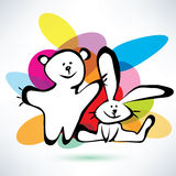 Icone del coniglietto e dell'orsacchiotto Fotografie Stock Libere da Diritti