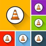 Icone del cono di traffico con ombra lunga Fotografie Stock
