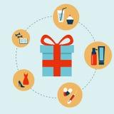 Icone del consumo e di acquisto messe Vettore Immagini Stock