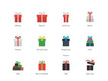 Icone del contenitore di regalo su fondo bianco Fotografia Stock