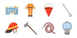 Icone del corpo dei vigili del fuoco nella raccolta dell'insieme per progettazione I pompieri e le attrezzature vector l'illustra Fotografia Stock