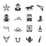 Icone del cowboy Fotografia Stock Libera da Diritti