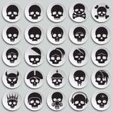 Icone del cranio messe sul fondo dei piatti per il grafico ed il web design Segno semplice di vettore Simbolo di concetto di Inte illustrazione di stock