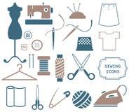 Icone del cucito e di cucito Immagini Stock