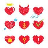 Icone del cuore Fotografie Stock