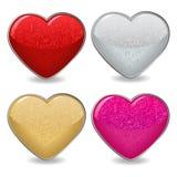 Icone del cuore del biglietto di S. Valentino Fotografia Stock Libera da Diritti
