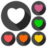 Icone del cuore messe con ombra lunga Immagine Stock