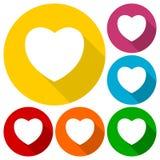 Icone del cuore messe con ombra lunga Fotografia Stock