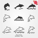 Icone del delfino Fotografia Stock Libera da Diritti