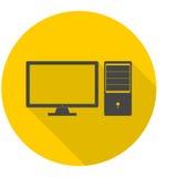 Icone del desktop computer messe con ombra lunga Immagine Stock Libera da Diritti