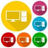 Icone del desktop computer messe con ombra lunga Fotografia Stock Libera da Diritti