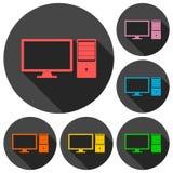 Icone del desktop computer messe con ombra lunga Immagini Stock