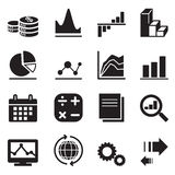 Icone del diagramma e del grafico della siluetta Immagini Stock Libere da Diritti