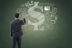 Icone del disegno dell'uomo d'affari immagine stock libera da diritti