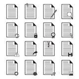 Icone del documento messe Fotografia Stock