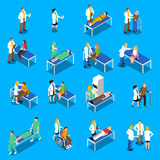 Icone del dottore Patient Communication Isometric messe Immagine Stock