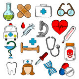Icone del farmaco e della medicina messe Immagini Stock Libere da Diritti