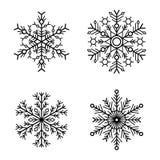 Icone del fiocco di neve messe su fondo bianco Vettore illustrazione di stock