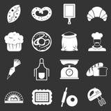 Icone del forno messe grige illustrazione di stock