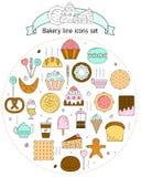 Icone del forno nella linea stile di arte Icone con pane, biscotti, dolci per il web Metta con pane fresco, dolci, bollenti per illustrazione vettoriale