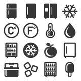 Icone del frigorifero messe su fondo bianco Vettore royalty illustrazione gratis