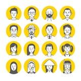 Icone del fronte dell'avatar della gente Immagine Stock