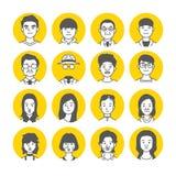 Icone del fronte dell'avatar della gente Fotografia Stock Libera da Diritti