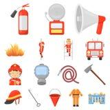 Icone del fumetto del corpo dei vigili del fuoco nella raccolta dell'insieme per progettazione Pompieri e web delle azione di sim Fotografie Stock Libere da Diritti