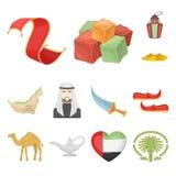 Icone del fumetto degli Emirati Arabi Uniti del paese nella raccolta dell'insieme per progettazione Web delle azione di simbolo d Immagine Stock Libera da Diritti