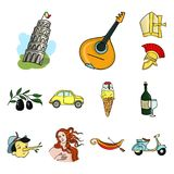 Icone del fumetto dell'Italia del paese nella raccolta dell'insieme per progettazione L'Italia ed il punto di riferimento vector  Immagine Stock Libera da Diritti