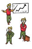 Icone del fumetto dell'uomo d'affari messe Fotografia Stock