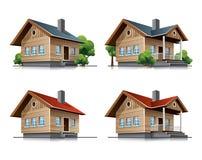 Icone del fumetto della casa del cottage Fotografie Stock