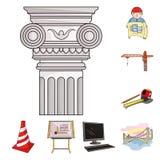 Icone del fumetto della costruzione e di architettura nella raccolta dell'insieme per progettazione Azione di simbolo di vettore  Immagine Stock Libera da Diritti