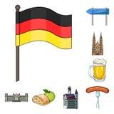Icone del fumetto della Germania del paese nella raccolta dell'insieme per progettazione La Germania ed il punto di riferimento v Fotografia Stock