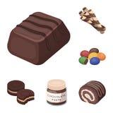 Icone del fumetto del dessert del cioccolato nella raccolta dell'insieme per progettazione Il cioccolato ed i dolci vector l'illu Fotografia Stock