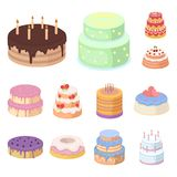 Icone del fumetto del dessert e del dolce nella raccolta dell'insieme per progettazione Illustrazione di web delle azione di simb Fotografia Stock