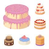 Icone del fumetto del dessert e del dolce nella raccolta dell'insieme per progettazione Illustrazione di web delle azione di simb Fotografie Stock Libere da Diritti
