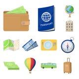 Icone del fumetto di viaggio e di resto nella raccolta dell'insieme per progettazione Trasporto, illustrazione di web delle azion Fotografia Stock