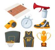 Icone del fumetto messe di vari elementi di pallacanestro Immagine Stock Libera da Diritti