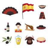 Icone del fumetto del paese della Spagna nella raccolta dell'insieme per progettazione Il viaggio e le attrazioni vector l'illust Immagini Stock