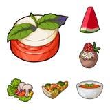 Icone del fumetto del piatto vegetariano nella raccolta dell'insieme per progettazione Il simbolo di vettore e del verdura della  Fotografie Stock Libere da Diritti