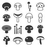 Icone del fungo di vettore messe Fotografie Stock