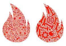 Icone del fuoco del mosaico degli strumenti di riparazione illustrazione vettoriale