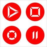 Icone del giocatore rosse Immagine Stock