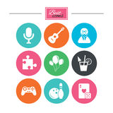 Icone del gioco, di bowling e di puzzle intrattenimento illustrazione di stock
