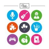 Icone del gioco, di bowling e di puzzle intrattenimento royalty illustrazione gratis