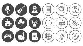 Icone del gioco, di bowling e di puzzle intrattenimento illustrazione vettoriale