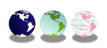 Icone del globo del mondo Fotografie Stock Libere da Diritti